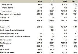IRFC Profit & Loss Statement
